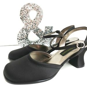 Unlisted Black Square Toe Chunky Heel Shoes